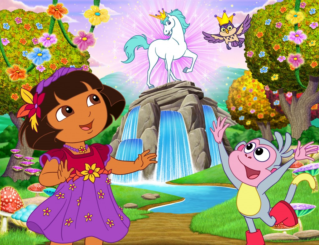 """Dora and the Enchanted Forest Adventures""--Dora The Explorer, King Unicornio, Owl (voiced by Jason Alexander) and Boots _ --Dora and Boots Photo: Nickelodeon. ©2011 Viacom, International, Inc. All Rights Reserved"
